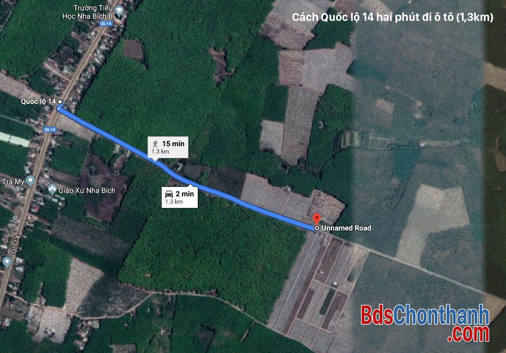 Khu tái định cư 10ha Nha Bích cách QL14 hai phút đi ô tô