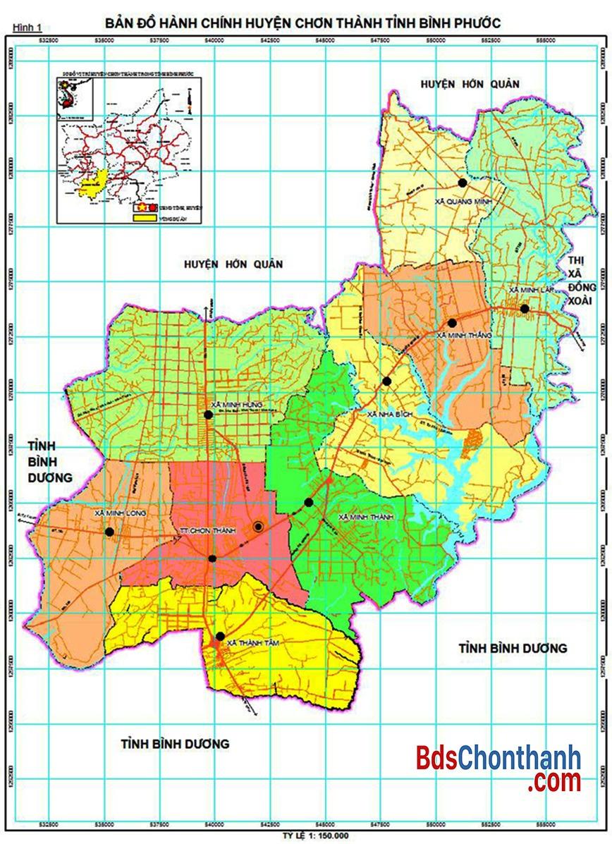 Các phường xã nằm trong khu quy hoạch Thị xã Chơn Thành