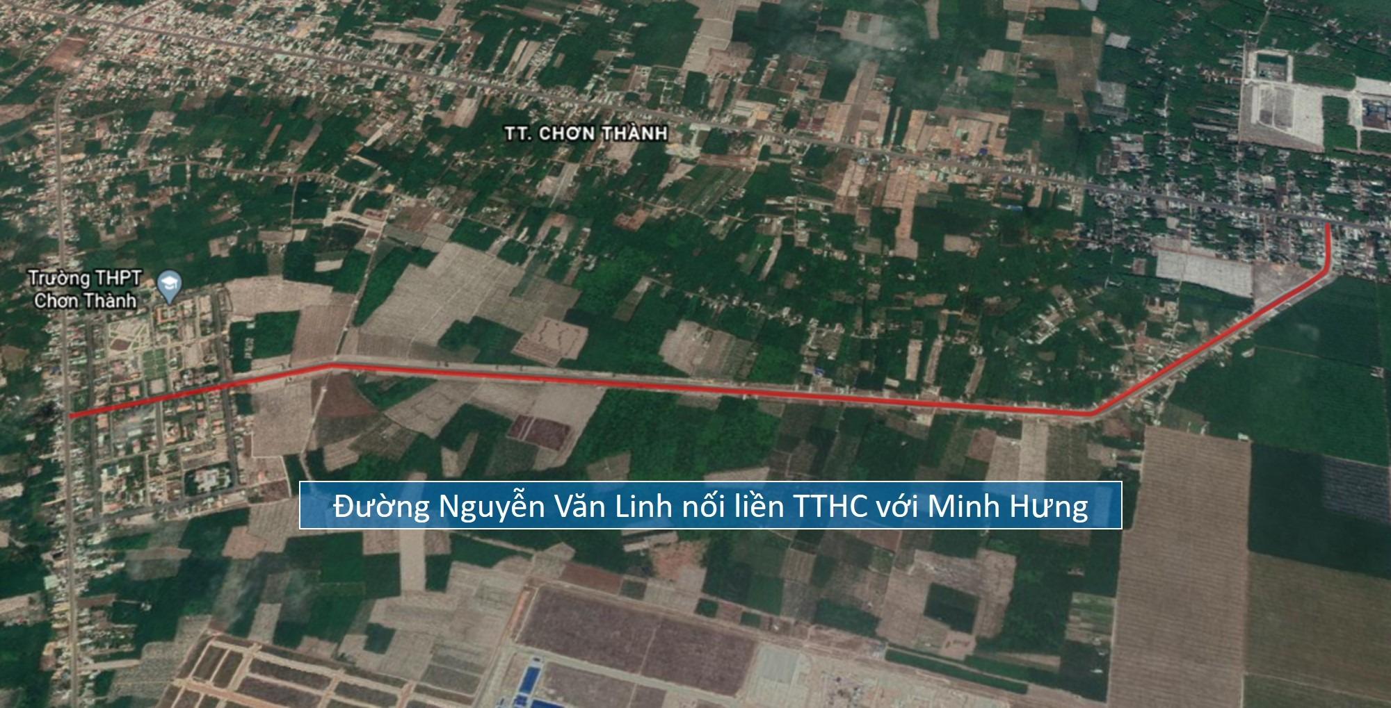 Đường Nguyễn Văn Linh nối liền TTHC Chơn Thành với Minh Hưng