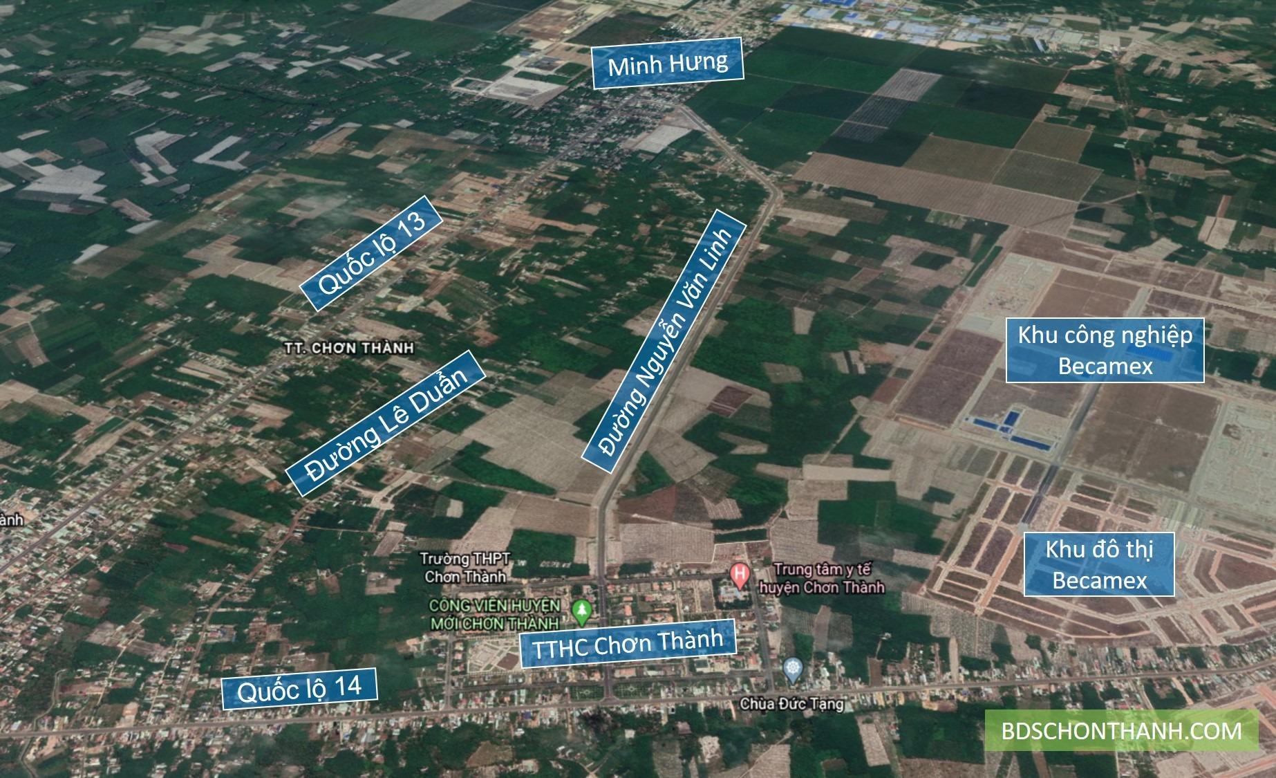 Vị trí đường Nguyễn Văn Linh Chơn Thành - Bình Phước