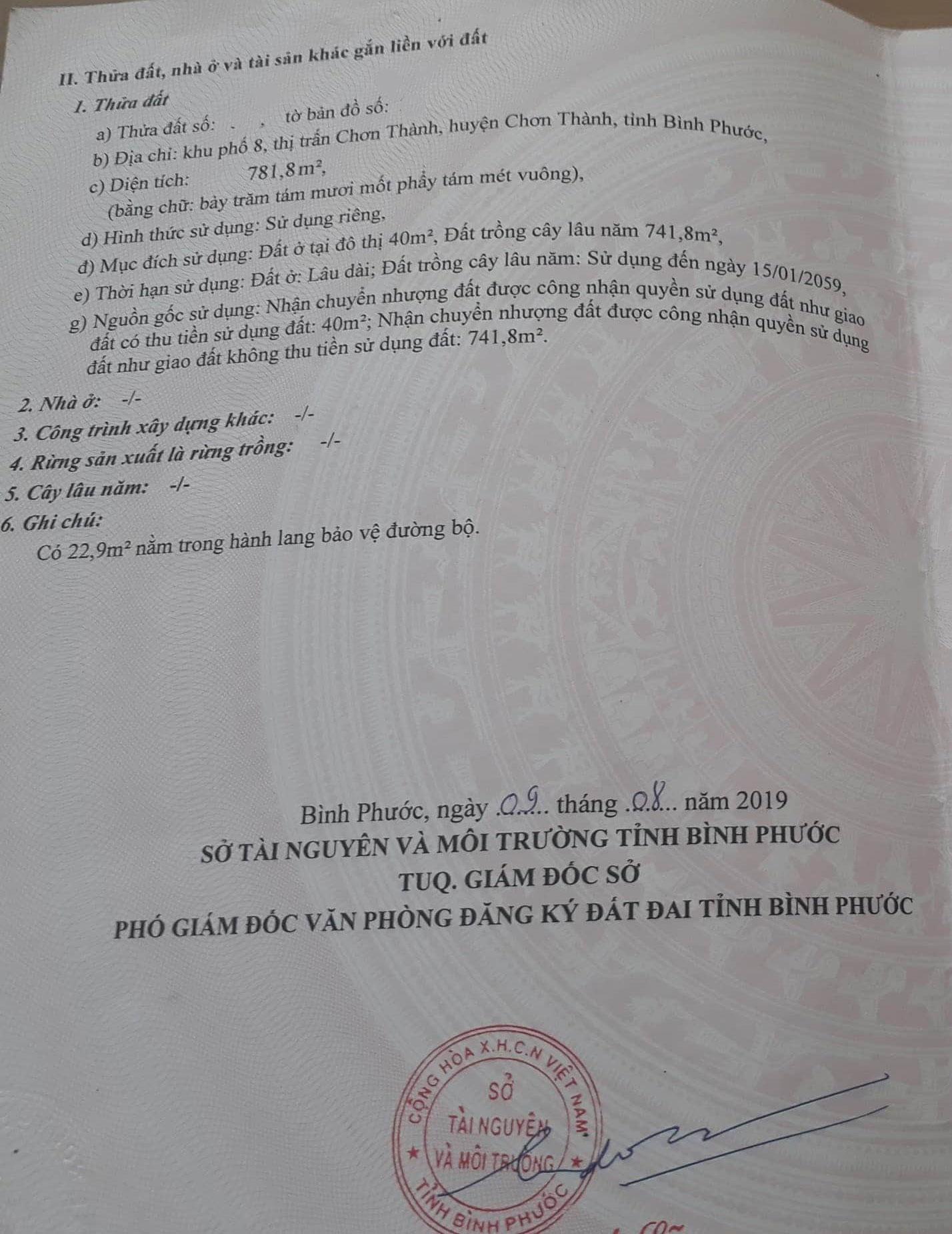 Bán đất khu phố 8 thị trấn Chơn Thành